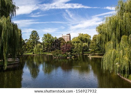 Pond in Boston Public Garden near Boston Common Massachusetts - stock photo