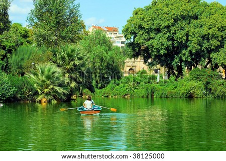 pond in city park De la Ciutadella in barcelona, catalonia, spain