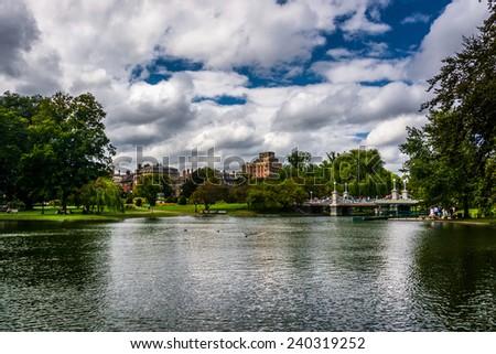 Pond in the Public Garden in Boston, Massachusetts. - stock photo