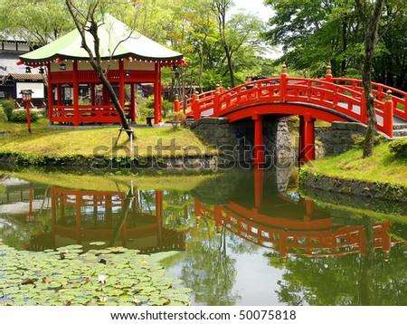 Pond in Village of Samurais. Japan, an island of Hokkaido - stock photo