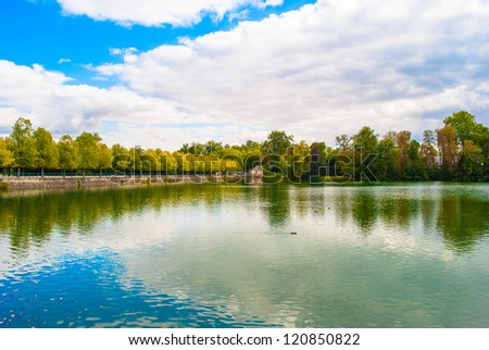 Pond of of the Palace of Fontainebleau, one of the largest French royal castles - stock photo