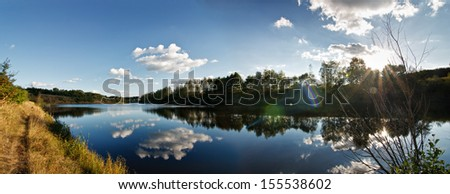 Pond reflections - stock photo