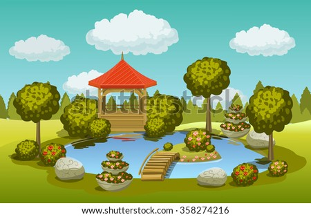 pond with gazebo and bridge - stock photo
