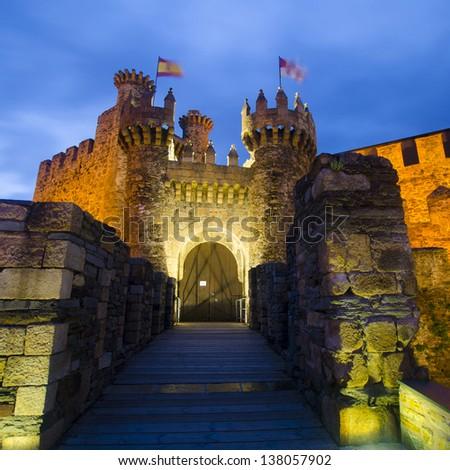 Ponferrada castle front door - stock photo