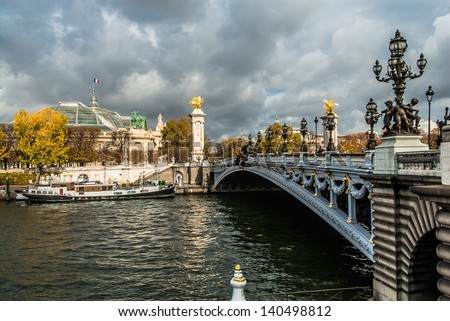 Pont Alexandre III  Alexander the third bridge in the city of Paris in france - stock photo