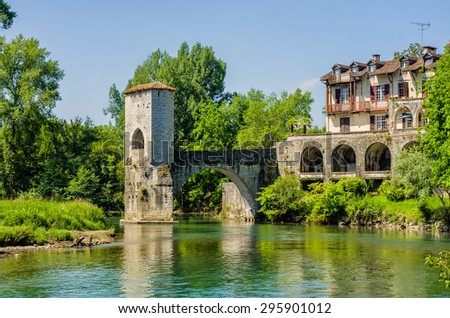 Pont de la Legende, or Bridge of Legend in Sauveterre-de-Bearn - stock photo