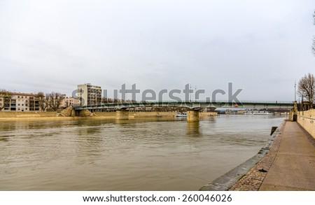 Pont de Trinquetaille, a bridge in Arles - France, Provence-Alpes-Cote d'Azur - stock photo