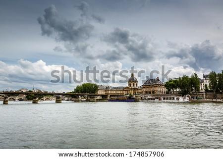 Pont des Arts Bridge and French Institute, Paris, France - stock photo