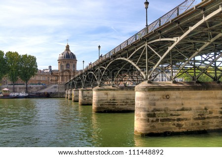 Pont des Arts Bridge over river Seine. Scenic view of bridge over river Seine in Paris, France.