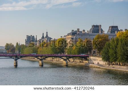 Pont des Arts over Seine River in Paris, France - stock photo
