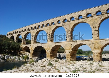 Pont du Gard, Aqueduct outside Nimes in France