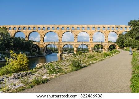 Pont du Gard, famous roman aqueduct in southern France near Nimes. - stock photo