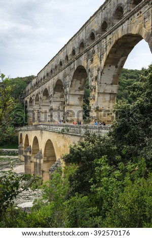 Pont du Gard, over the Gardon river, is roman aqueduct built to provide water to the city of Nimes from the river Eure in the first century A.D.