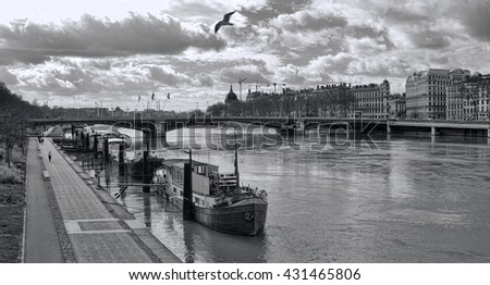Pont Lafayette  over the Rhone River, Lyon France - stock photo