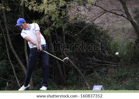 PONT ROYAL , FRANCE - OCTOBER 19, 2013 : Alessio Bruschi (ITA) During the fourth round of the Masters 13  (Alps Tour), october 218, 2013 at Pont Royal en Provence, France.