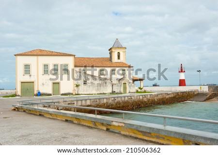 Ponta de Humaita Lighthouse in the baia de todos os santos - stock photo