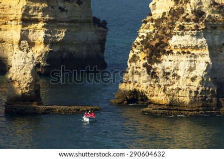Ponta de Piedade in Lagos, Algarve coast in Portugal - stock photo