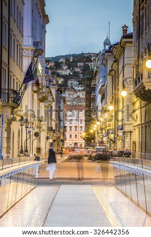 Ponte Curto and Trento Street in Trieste city center, Italy, Europe