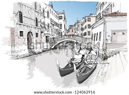 Ponte del Mondo Novo, Campo S.Maria Formosa. Venice, Italy. Bitmap copy my vector - stock photo