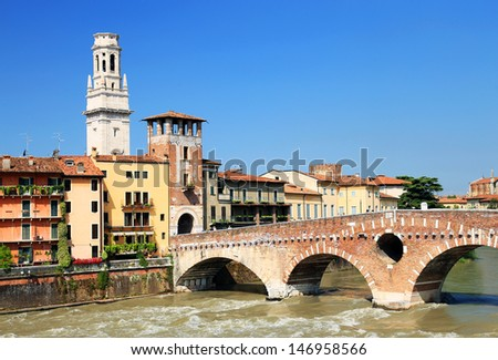 Ponte Pietra over the River Adige and the Dome of Verona, Italy, Europe