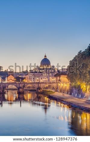 Ponte Sant'Angelo, once the Aelian Bridge or Pons Aelius (Bridge of Hadrian) in Rome, Italy, - stock photo