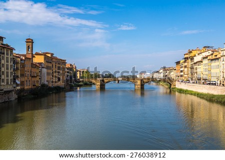 Ponte Santa Trinita in Florence in a summer day in Italy