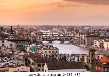 Ponte Vecchio, at sunset from Piazzale Michelangelo, Tuscany - stock photo
