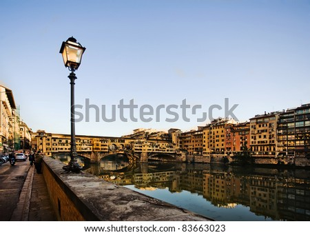 Ponte Vecchio at sunset in Florence, Italy - stock photo