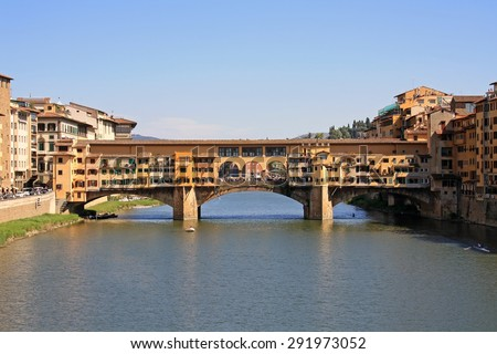 Ponte Vecchio bridge in Florence - stock photo
