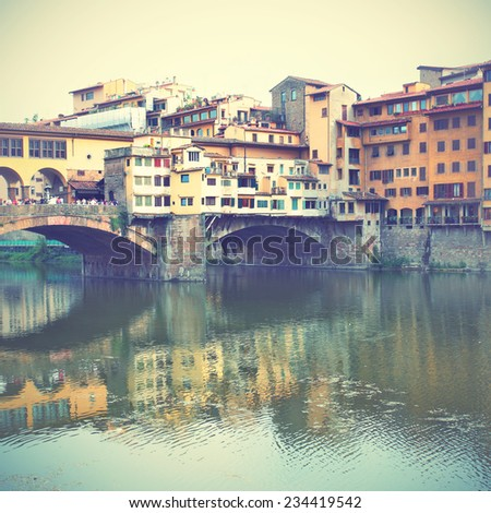 Ponte Vecchio bridge in Florence, Italy.   Instagram style filtred image - stock photo