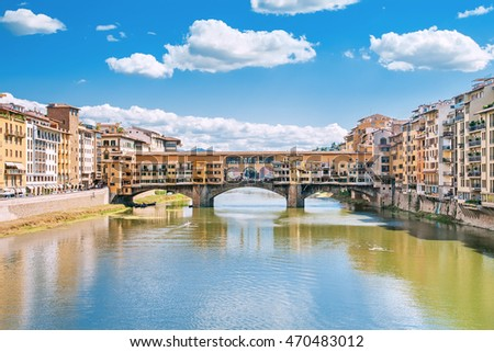 Ponte Vecchio on the river Arno in Florence, Italy
