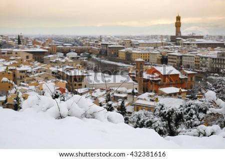 Ponte Vecchio or Old Bridge Florence Italy with snow panorama Tuscany