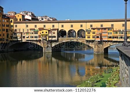 Ponte Vecchio over Arno River, Florence, Italy - stock photo