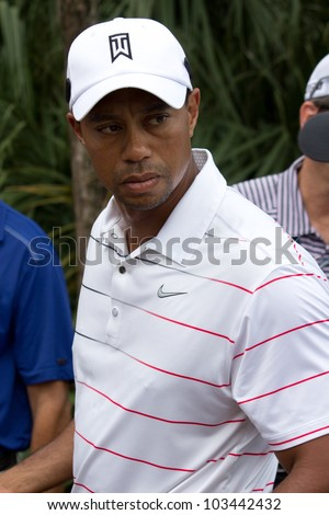 PONTE VEDRA BEACH, FL-MAY 08: Tiger Woods at The Players Championship, PGA Tour, on practice day May 08, 2012 at The TPC Sawgrass, Ponte Vedra Beach, Florida, USA. - stock photo