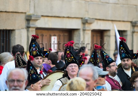 Pontevedra, SPAIN - APRIL 17, 2014: Galician regional music band, participants in an Easter procession through the city.