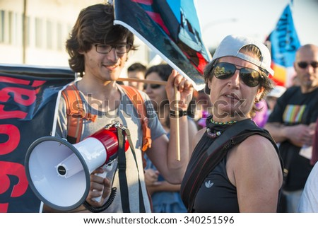 PONTEVEDRA, SPAIN - JUNE 20, 2015: Detail of environmental protest, against the permanence of a pulp industry in the Ria de Pontevedra. - stock photo