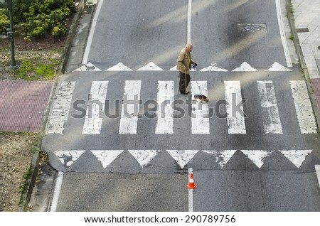 PONTEVEDRA, SPAIN - OCTOBER 19, 2014: An old man with a dog, through a crosswalk at a street of the city. - stock photo