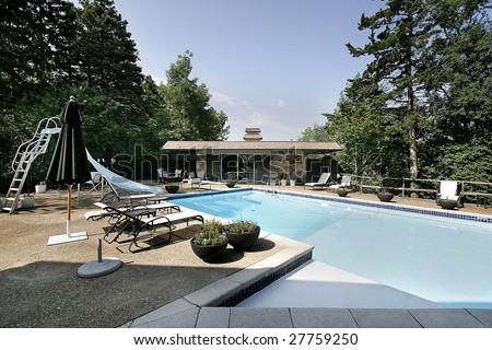 Pool and pool-house - stock photo