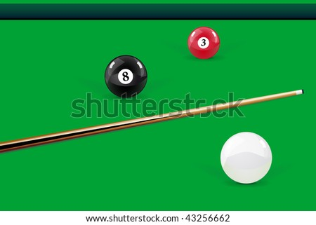 Pool - balls and cue on the table