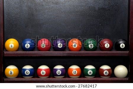 pool balls on shelf with some place for text on desktop