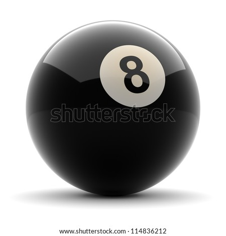 Pool Black Ball number eight rendered on solid white background - stock photo