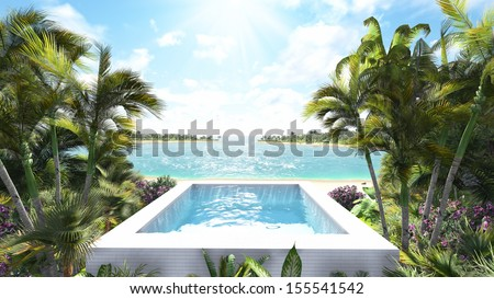 Pool by the sea - stock photo