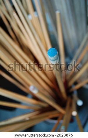 POOL CUES - stock photo