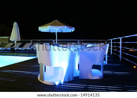 Pool Deck With Neon Lighting - stock photo