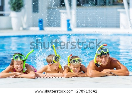 Pool, fun, smiling. - stock photo