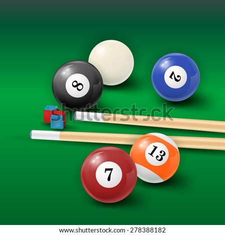 Pool  Illustration with pool balls and cue