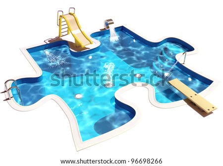 Pool in the form of a puzzle. 3D Illustration of a Swimming Pool - stock photo