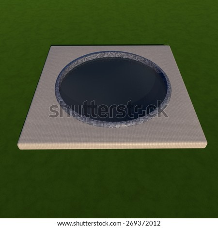 Pool in the grass, 3d render, square image