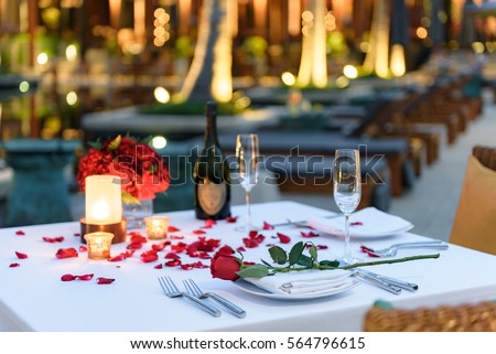 Pool Side Candlelight Dinner Romantic Sunset Stock Photo
