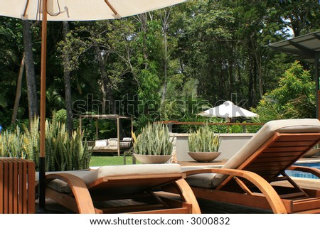 Pool side on deck chairs with the beautiful rainforest and sky in the background. This is the holiday destination of choice!  All you could possibly want! - stock photo
